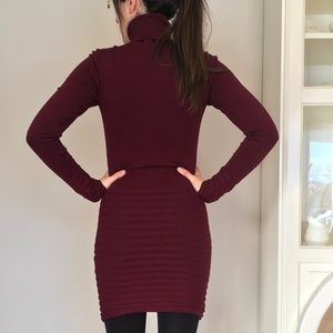 Le Chateau Burgundy Sweater Dress